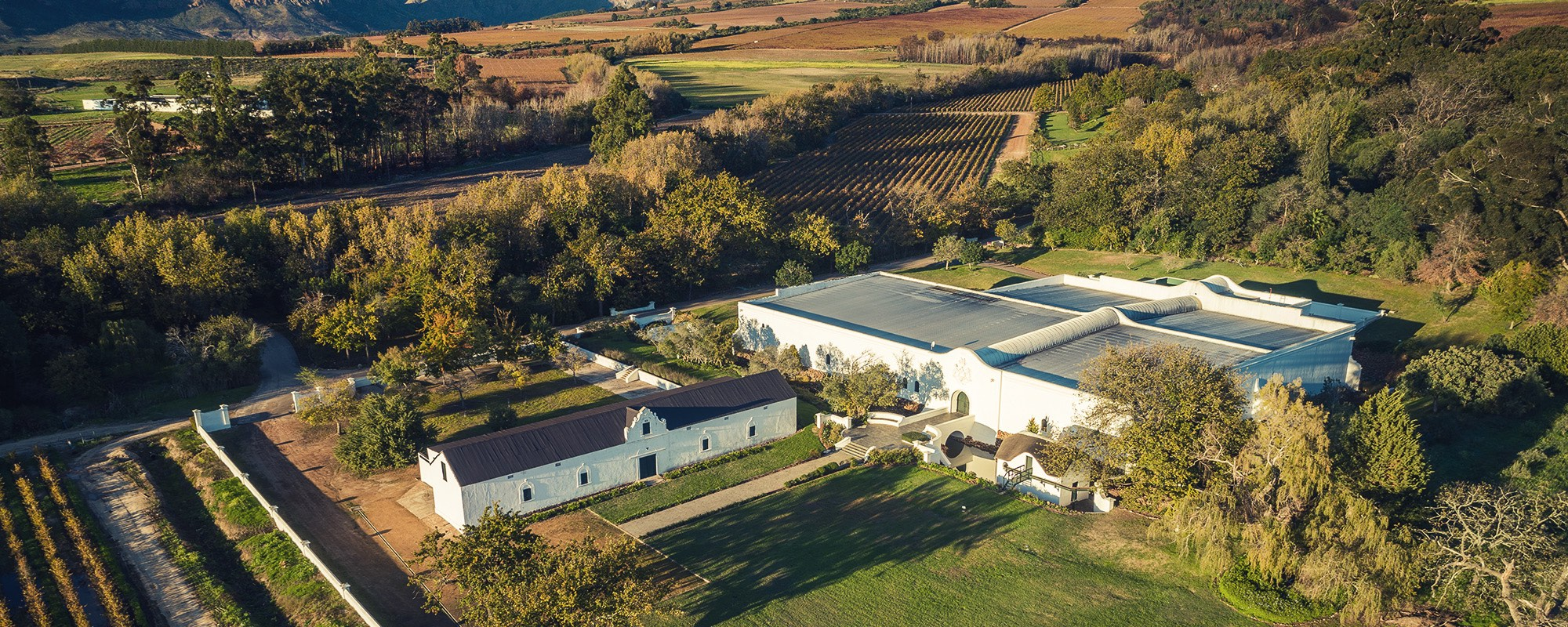 Aerial view of the wine cellar at Plaisir de Merle in Franschhoek