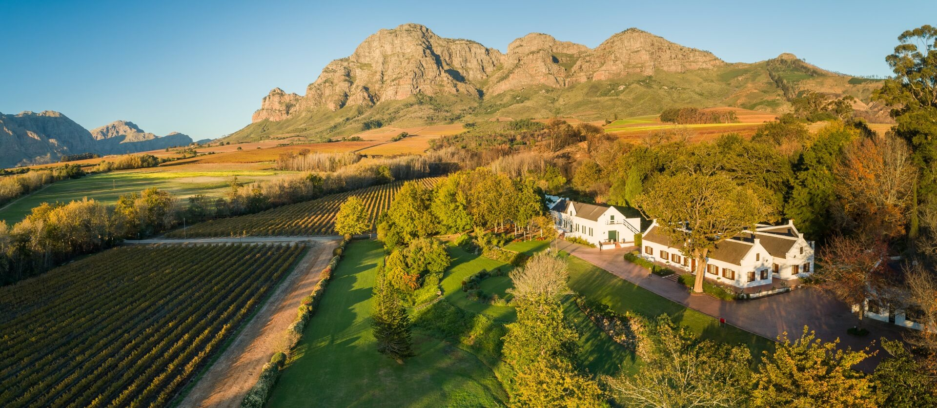 Aerial view of Plaisir de Merle wine estate in Franschhoek