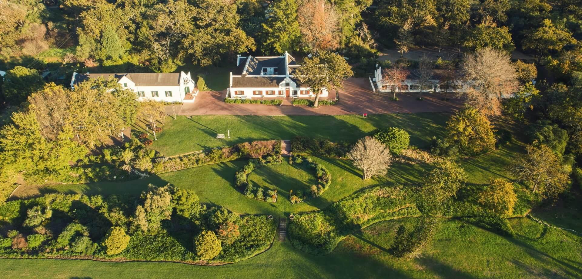 Aerial view of Plaisir de Merle, wine estate in Franschhoek